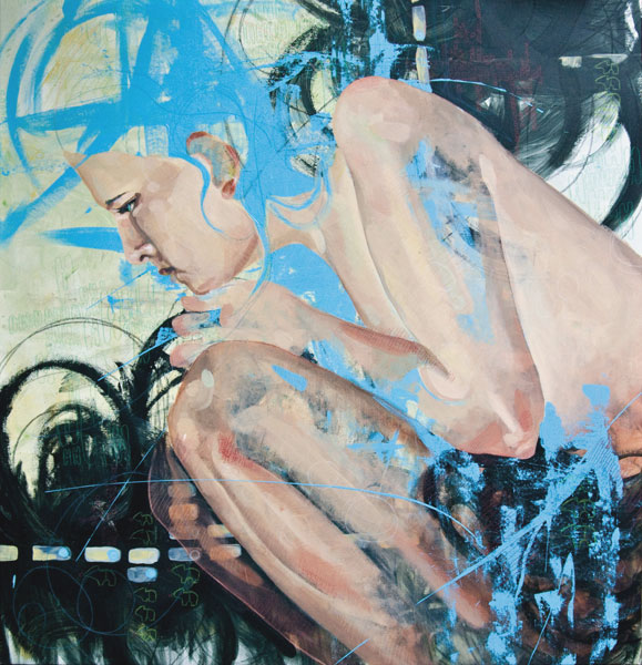 Figure Splashed with Blue